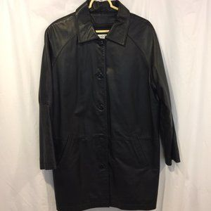 Preston & York Black Leather Coat Zip-out Lining L